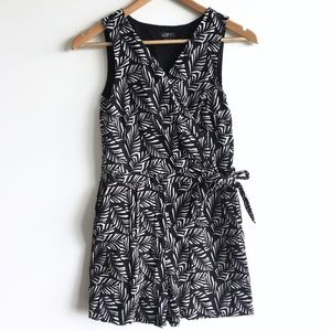 Loft Leaf Print Wrap Tie Romper with Pockets
